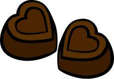 Heart shaped chocolates vector illustration. Vector illustration of a pair of heart shaped chocolates Stock Photos