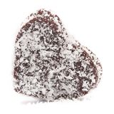 Heart-shaped chokladboll. Covered with coconut isolated on white background Stock Photo