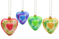 Heart shaped christmas baubles Stock Photos