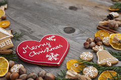Heart shaped Christmas gingerbread Royalty Free Stock Photography