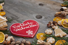 Heart shaped Christmas gingerbread Royalty Free Stock Photos