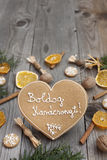 Heart shaped Christmas gingerbread Stock Photography