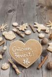 Heart shaped Christmas gingerbread Stock Photo