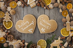 Heart shaped Christmas gingerbreads Stock Images