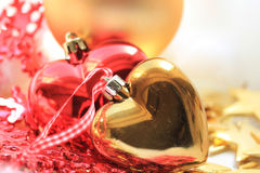 Heart shaped christmas ornaments Stock Photo