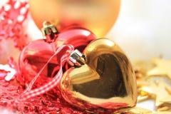 Heart shaped christmas ornaments Stock Photo