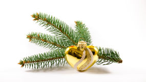 Heart shaped Christmas tree toy in front of branch. Heart shaped Christmas tree toy in front of tree branch. White background with soft shadows Stock Image