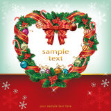 Heart Shaped Christmas Wreath Decoration. Stock Image