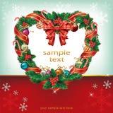 Heart Shaped Christmas Wreath Decoration. Illustration background Stock Image
