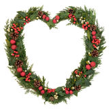 Heart Shaped Christmas Wreath Stock Photography