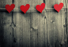 Heart-shaped clips are hanging on the rope, Valentine's Day, love wallpaper stock image
