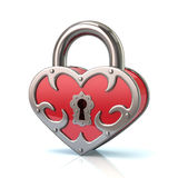 Heart shaped closed lock. Heart shaped closed red lock 3d illustration Stock Image