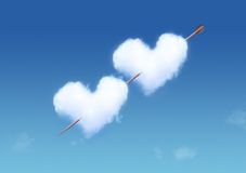 Heart Shaped Cloud. On Blue Sky with arrow Stock Images