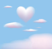 Heart shaped cloud. Soft white and pink cloud background with heart-shaped cloud Royalty Free Stock Images