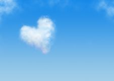 Heart shaped cloud. Blue background. heart shaped cloud Royalty Free Stock Photography