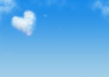 Heart shaped cloud. Blue background. heart shaped cloud Stock Photography