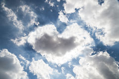 Heart shaped cloud formation with blue sky Royalty Free Stock Image