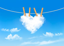 Heart shaped cloud on rope. Nature beautiful background. Stock Photography