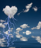 Heart Shaped Cloud With Thunderbolt Stock Photography