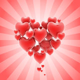Heart shaped cluster of hearts Stock Images