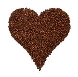 Heart shaped coffee beans. Isolated on white background Stock Image