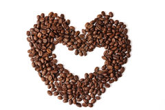 Heart shaped Coffee beans Stock Photos