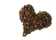 Heart shaped coffee beans royalty free stock photography