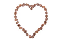 Free Heart Shaped Coffee Beans On White Background Royalty Free Stock Images - 37481639