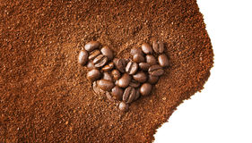 Heart shaped coffee beans Stock Image