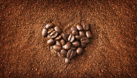 Heart shaped coffee beans Royalty Free Stock Photo