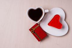 Heart shaped coffee cup cake and gift box Stock Images