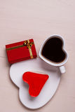 Heart shaped coffee cup cake and gift box Stock Photo
