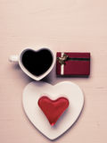 Heart shaped coffee cup cake and gift box Stock Photography