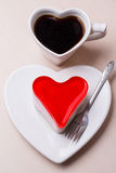 Heart shaped coffee cup and cake Royalty Free Stock Photography