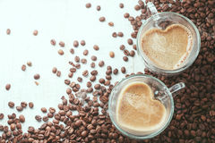 Heart-shaped coffee cups Stock Photos