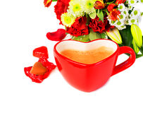 Heart shaped coffee mug Royalty Free Stock Photography
