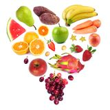 Fruits. Heart shaped collection of Fresh Fruits, isolated on white royalty free stock photos