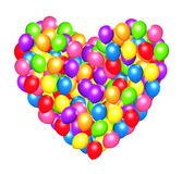 Heart shaped colorful balloons. 3d illustration Royalty Free Stock Photo