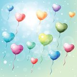 Heart shaped colorful balloons. Stock Photos