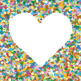 Heart Shaped Colourful Vector Confetti Heap Background with Free. Space for Advertising Text - Dots, Polka Dots, Points, Symbol - Invitation Card royalty free illustration