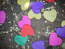 Heart-shaped confetti and rice - live the newlyweds stock photos