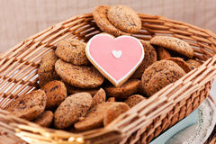 Heart shaped cookie. For valentines day into basket Royalty Free Stock Image