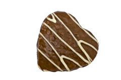 Heart Shaped Cookie. An isolated and heart shaped cookie Royalty Free Stock Photo