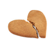 Heart shaped cookie broken Royalty Free Stock Photo