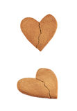 Heart shaped cookie broken Royalty Free Stock Image