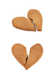 Heart shaped cookie broken Royalty Free Stock Photography