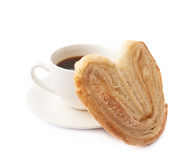 Heart shaped cookie and coffee Stock Images