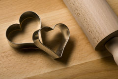 Heart shaped cookie cutters close up
