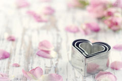 Free Heart Shaped Cookie Cutters On Wooden Background Royalty Free Stock Photography - 37539377