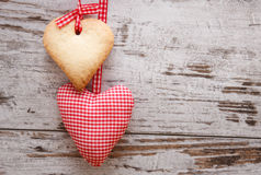 Heart shaped cookie with handmade heart Royalty Free Stock Image